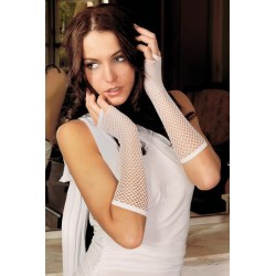 Mitaines Longues Résille Taille Unique Blanc