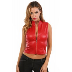 Gilet Rouge Col Montant Simili Cuir