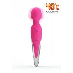 Wand vibro chauffant USB Rose