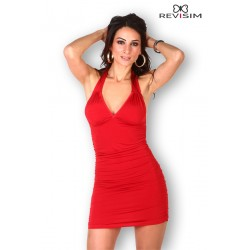 Robe rouge dos nu Cocktail sexy