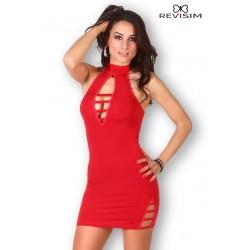 Robe rouge col montant et décolleté sexy