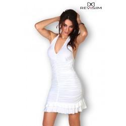 Robe blanche froncée et dos nu