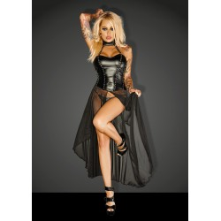 Robe longue Powerwetlook NHF139 Noir Handmade