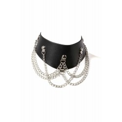 Collier Chainette simili cuir noir