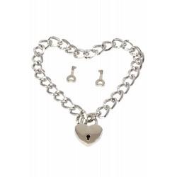 Collier chaine et coeur cadenas en métal argenté