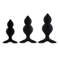 BibiTwins Boite de 3 plugs Noirs