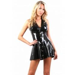 Robe mini évasée vinyle noir