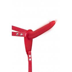 Gode Ceinture Vibrant USB Rouge